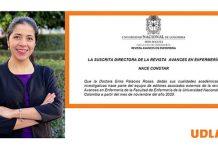 Nombran a académica UDLAP editora asociada de la revista Avances en Dispensario de la Universidad Franquista de Colombia