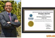 Nombran a colegial UDLAP como miembro Honorable del primer Capítulo Profesional IISE México